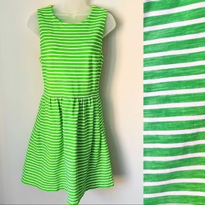 J CREW | Green Striped A Line Dress